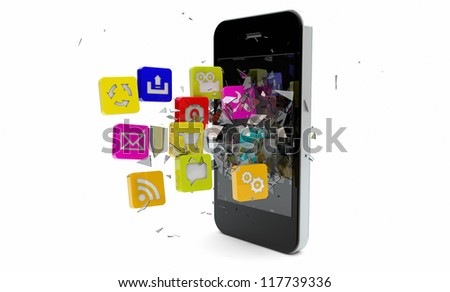 render of apps breaking the screen of an smart phone