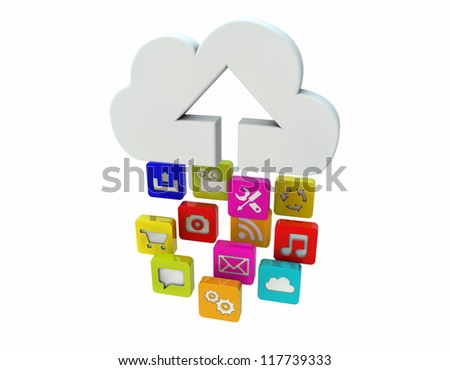 render of apps uploading to the cloud - stock photo