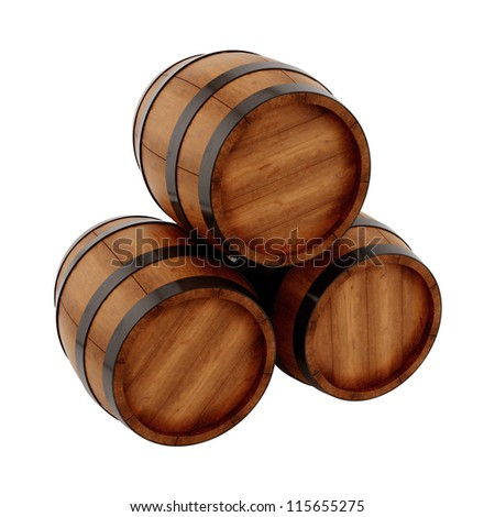 render of 3 barrels, isolated on white