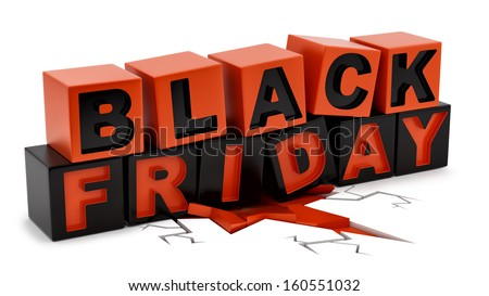 render of Black Friday crushing ground isolated on white