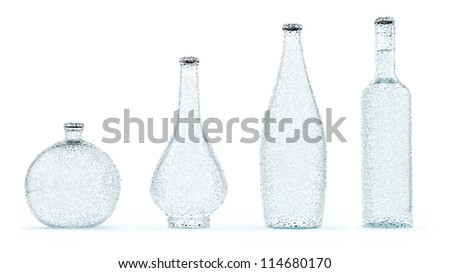 render of 4 bottles with water droplets, isolated on white - stock photo