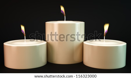 render of 3 burning candles on a black background