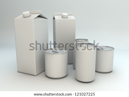 render of cans and milk packaging