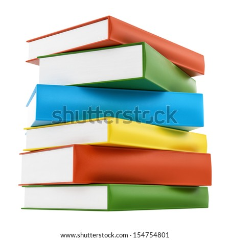 render of colorful leather cover books, isolated on white