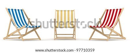 render of 3 deck chair in different color and position