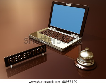Render of desk reception and laptop