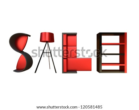 Render of different furniture forming the word sale