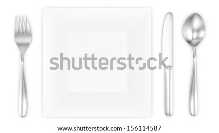 render of empty plate with spoon, knife and fork, isolated on white