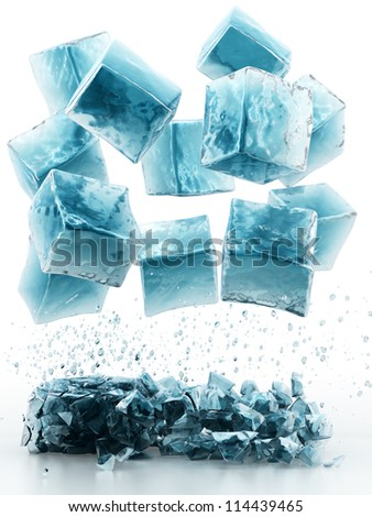 render of falling ice cubes, isolated on white