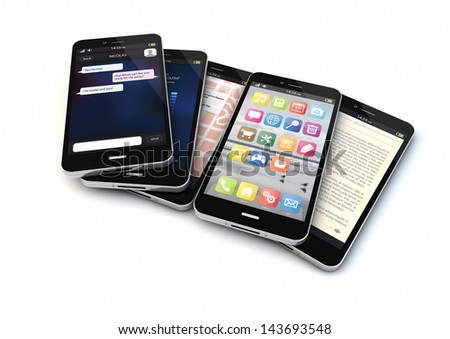 render of five smart phones with different apps on the screen