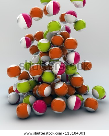 render of funny balls falling
