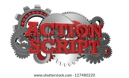 render of gears and the text action script