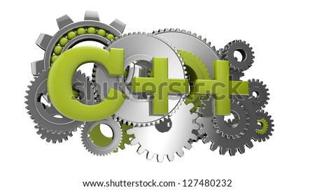 render of gears and the text c++ - stock photo