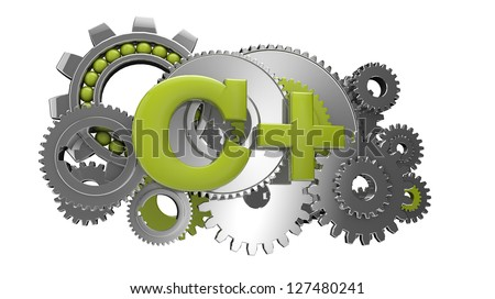 render of gears and the text c+