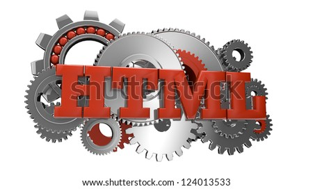 render of gears and the text html