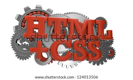 render of gears and the text html and css
