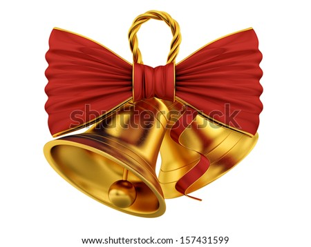 render of golden bells with red bow, isolated on white