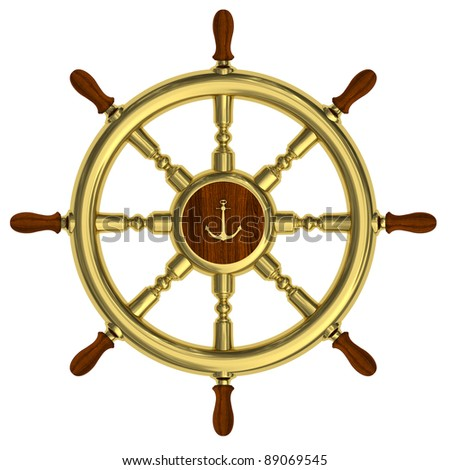 Render of golden nautical steering wheel isolated on white background