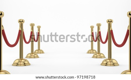 render of golden stanchions