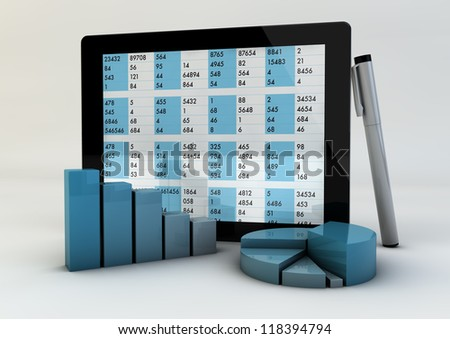 render of graphics and a tablet showing data