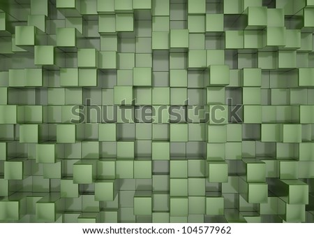render of green squares