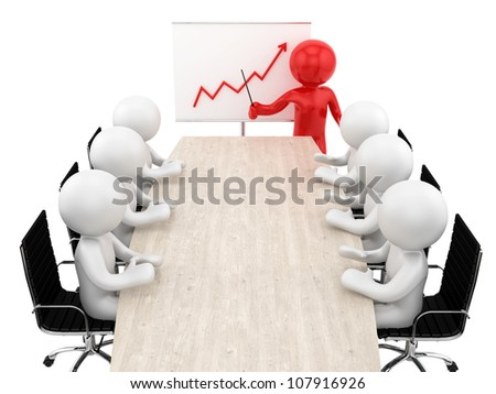 render of humans at a table and an ascending financial chart