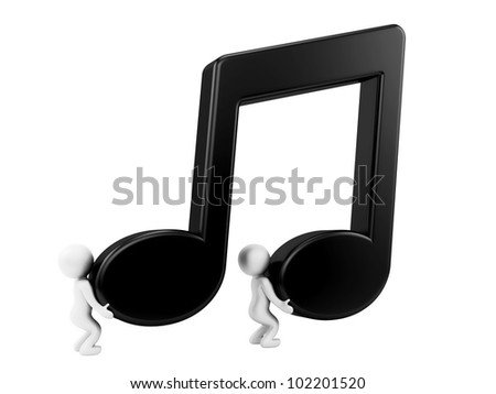 render of 2 man carrying music note