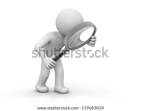 render of man with magnifying glass