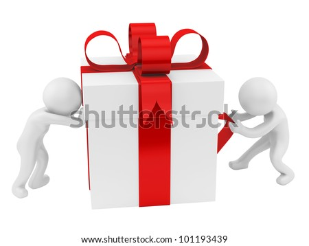 render of 2 men pushing/pulling a big gift box, isolated on white