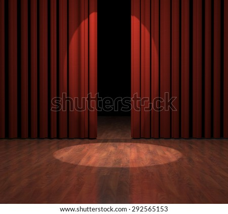 Render of red curtains opening with spotlight shining on wood stage floor.