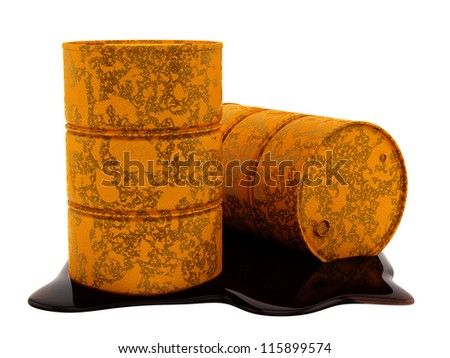 render of rusty, leaking  oil barrels, isolated on white