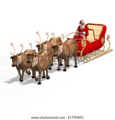 Render of Santa Claus - Merry Xmas. Image contains clipping path - stock photo