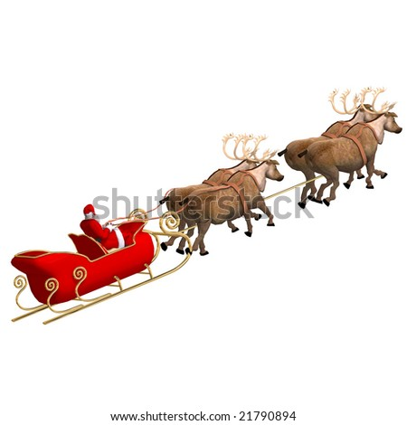 Render of Santa Claus - Merry Xmas. Image contains clipping path