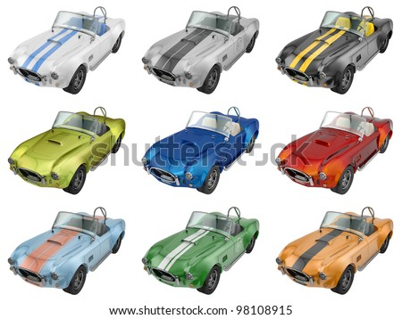 render of shelby cobra in 9 different colors