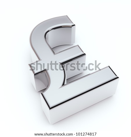 render of silver sterlin symbol isolated on white