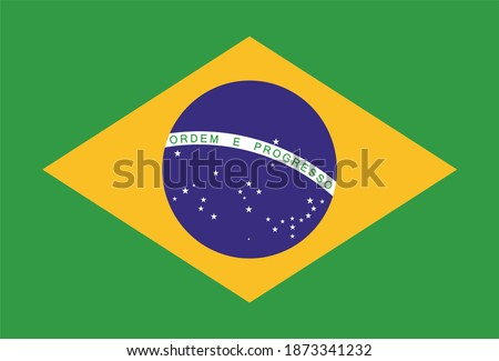 Render of the Federative Republic of Brazil flag. Perfect for printing on T-shirts, posters, wall murals, wall murals, mugs, glasses, sun loungers, banners, roll-ups, exhibition walls and any other pr Photo stock ©