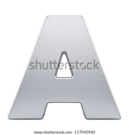 render of the letter A with brushed metal texture, isolated on white