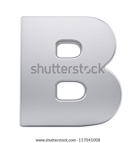 render of the letter B with brushed metal texture, isolated on white