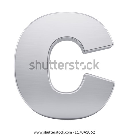 render of the letter C with brushed metal texture, isolated on white