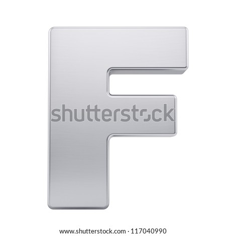 render of the letter F with brushed metal texture, isolated on white