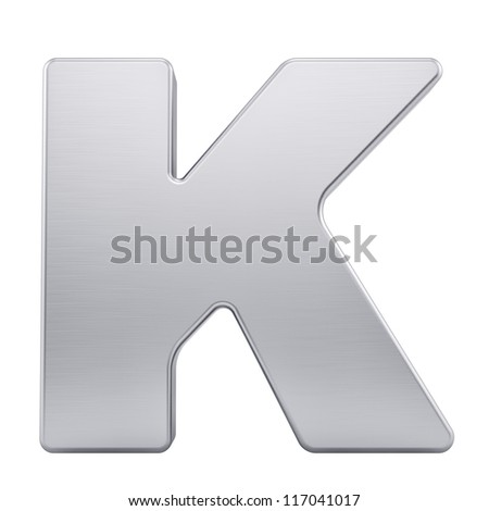 render of the letter K with brushed metal texture, isolated on white