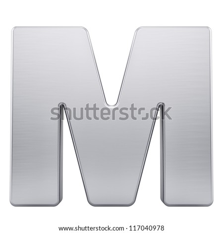 render of the letter M with brushed metal texture, isolated on white