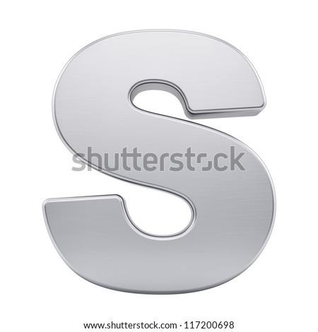 render of the letter S with brushed metal texture, isolated on white