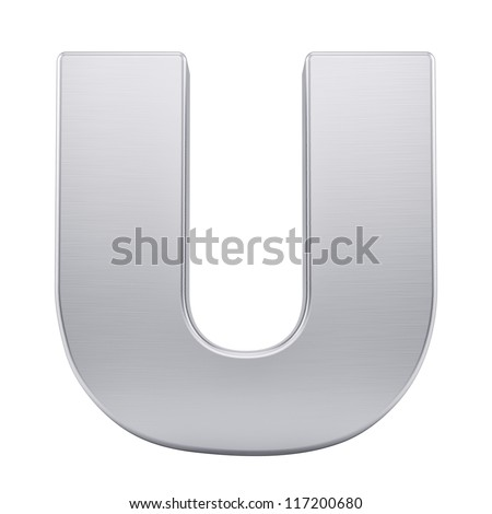 render of the letter U with brushed metal texture, isolated on white