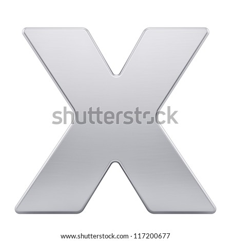 render of the letter X with brushed metal texture, isolated on white