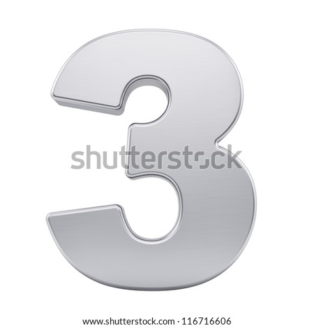 render of the number 3 with brushed metal texture, isolated on white