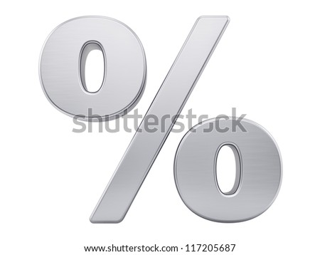 render of the percentage sign with brushed metal texture, isolated on white