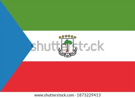 Render of the Republic of Equatorial Guinea flag. Perfect for printing on T-shirts, posters, wall murals, wall murals, mugs, glasses, sun loungers, banners, roll-ups, exhibition walls and any other pr Photo stock ©