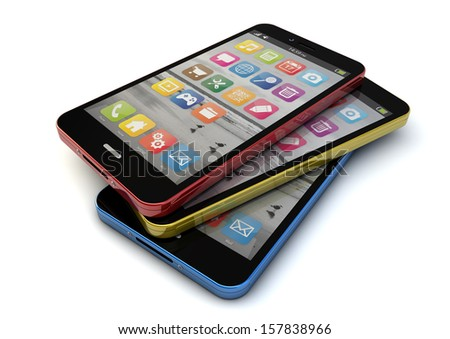 render of three colorful smartphones - stock photo