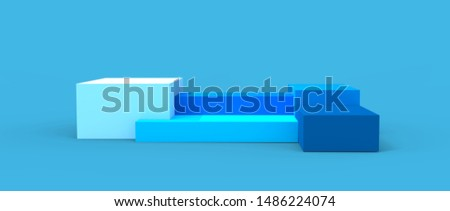 Render of three-dimensional podium. Platform for design products, stand 3d rendering - colorful illustration of abstract geometric shapes and patterns of different materials.